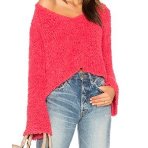 Free People pink dolman bell sleeve sweater small